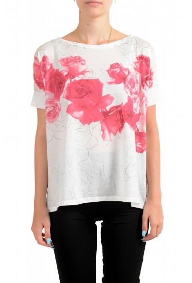 Moncler Women's Multi-Color Floral Print Cropped T-Shirt Top