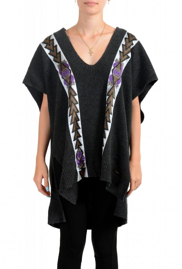 Just Cavalli Women's V-Neck Wool Cashmere Angora Pullover Sweater