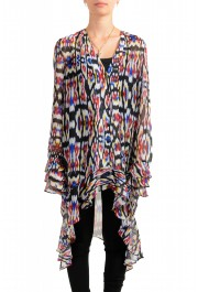 Just Cavalli Women's Multi-Color See Through Blouse Tunic Top