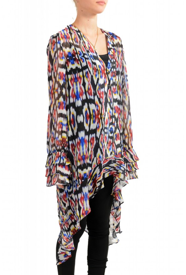 Just Cavalli Women's Multi-Color See Through Blouse Tunic Top: Picture 2