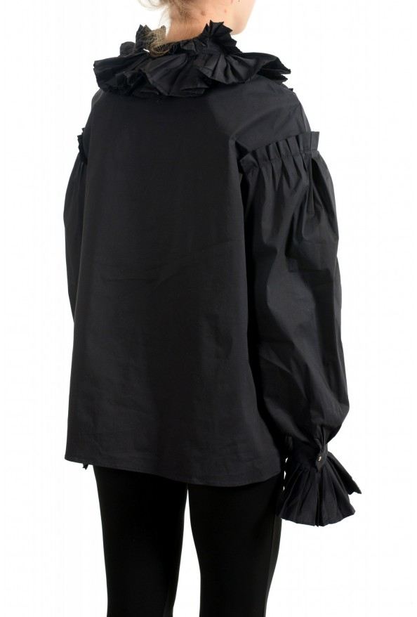 Just Cavalli Women's Black Ruffled Blouse Button Down Top : Picture 3