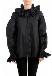 Just Cavalli Women's Black Ruffled Blouse Button Down Top