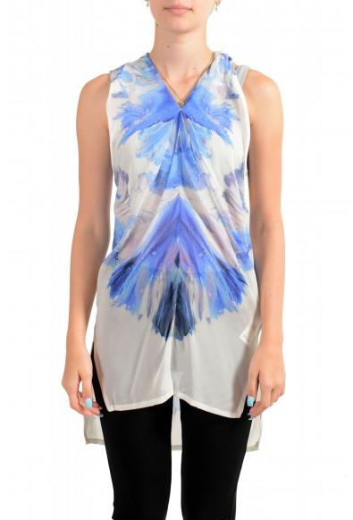 Just Cavalli Women's 100% Silk Multi-Color Sleeveless Blouse Tunic Top