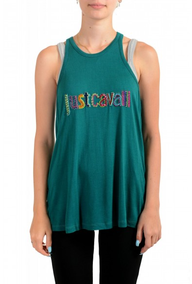 Just Cavalli Women's Embellished Green Blouse Tank Top