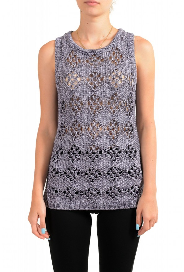 Just Cavalli Women's See Through Knitted Blouse Tank Top