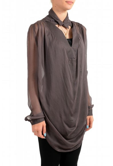 Just Cavalli Women's See Through Gray 100% Silk Blouse Tunic Top : Picture 2