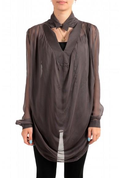 Just Cavalli Women's See Through Gray 100% Silk Blouse Tunic Top