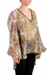 Just Cavalli Women's Multi-Color 100% Silk Lace Trimmed Blouse Top: Picture 2