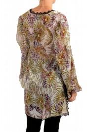 Just Cavalli Women's Multi-Color 100% Silk Lace Trimmed Blouse Top: Picture 3