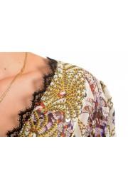 Just Cavalli Women's Multi-Color 100% Silk Lace Trimmed Blouse Top: Picture 4