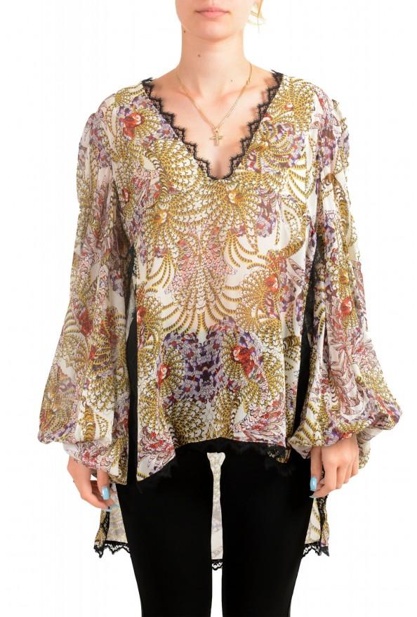 Just Cavalli Women's Multi-Color 100% Silk Lace Trimmed Blouse Top