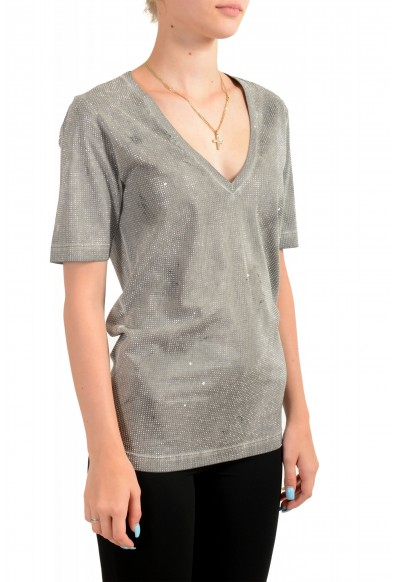 Dsquared2 Women's Distressed Look Sparkle V-Neck T-Shirt Top: Picture 2