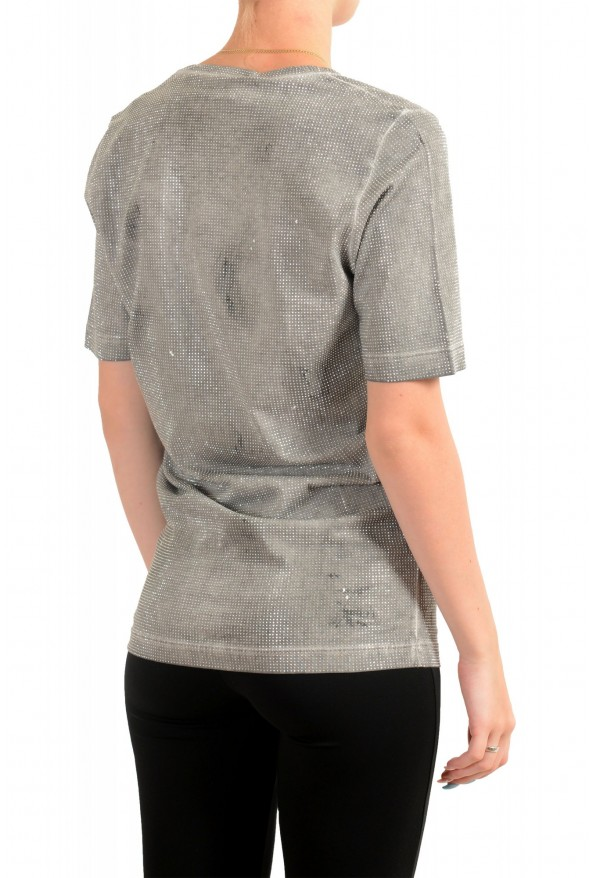 Dsquared2 Women's Distressed Look Sparkle V-Neck T-Shirt Top: Picture 3