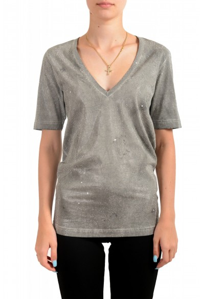 Dsquared2 Women's Distressed Look Sparkle V-Neck T-Shirt Top