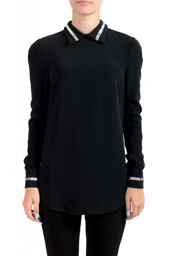 Just Cavalli Women's Black Embellished Blouse Tunic Top