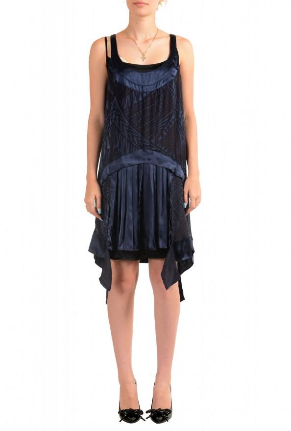 Just Cavalli Women's Silk Dark Blue Sundress Shift Dress
