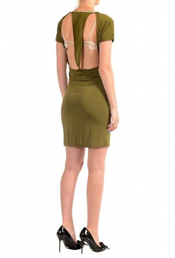 Just Cavalli Women's Olive Green Bodycon Shift Dress: Picture 3