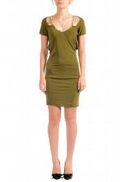 Just Cavalli Women's Olive Green Bodycon Shift Dress