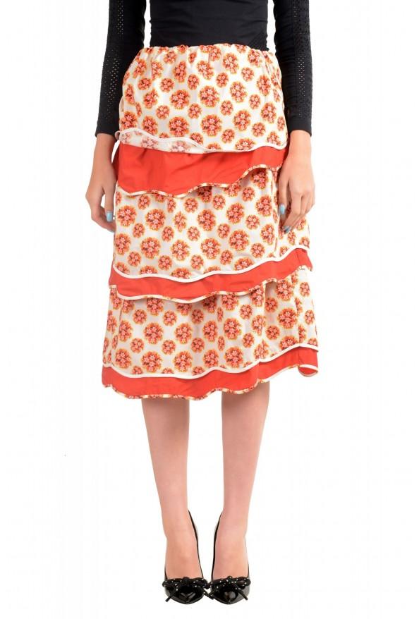 Just Cavalli Women's Tiered Ruffled Midi Multi-Color Skirt