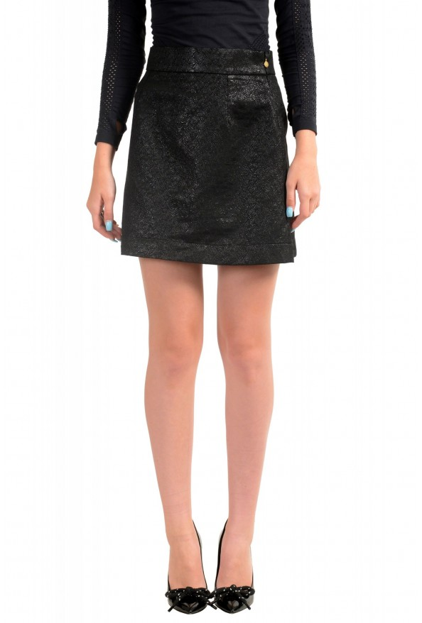 Just Cavalli Women's Black Textured A-Line Mini Skirt