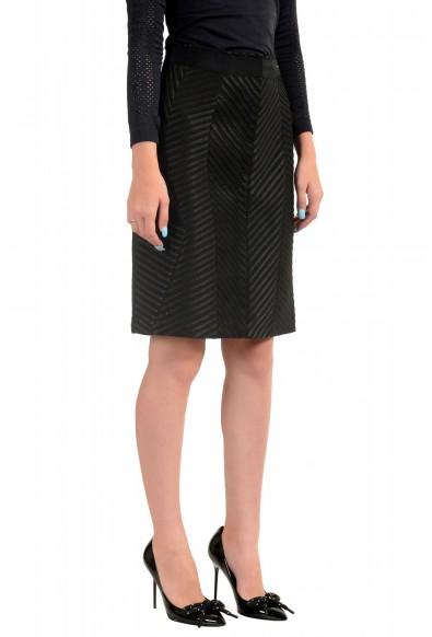 Just Cavalli Women's Black Textured Straight Pencil Skirt: Picture 2