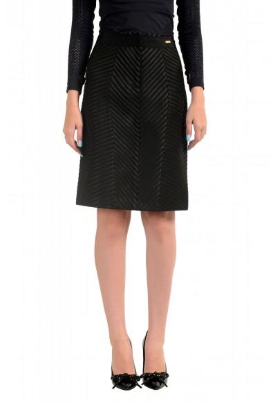 Just Cavalli Women's Black Textured Straight Pencil Skirt
