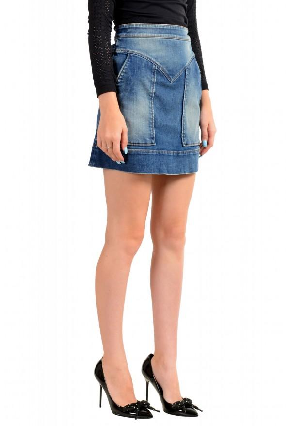 Just Cavalli Women's Blue Distressed Look Denim Mini Skirt: Picture 2