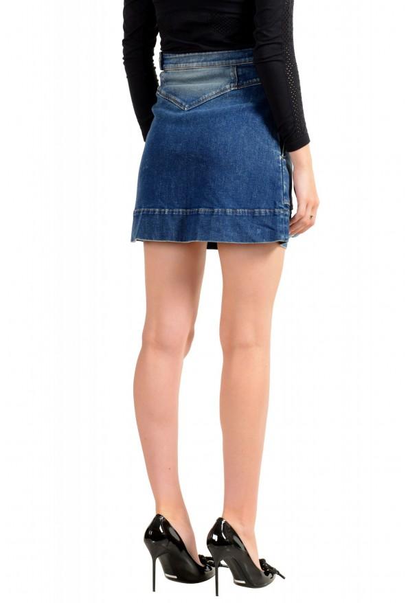 Just Cavalli Women's Blue Distressed Look Denim Mini Skirt: Picture 3
