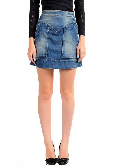 Just Cavalli Women's Blue Distressed Look Denim Mini Skirt