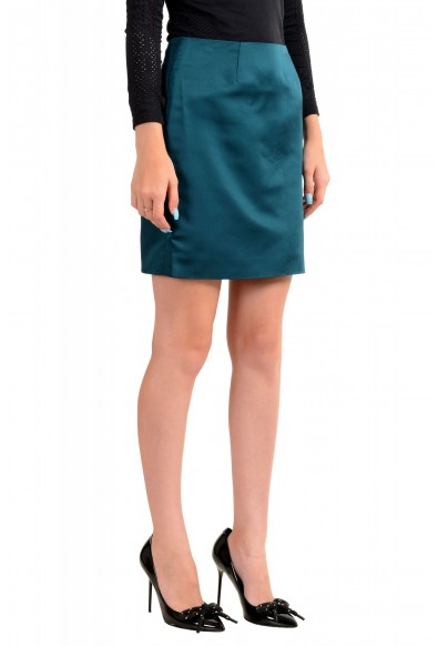 Versace Women's Forest Green 100% Silk Mini A-Line Skirt: Picture 2