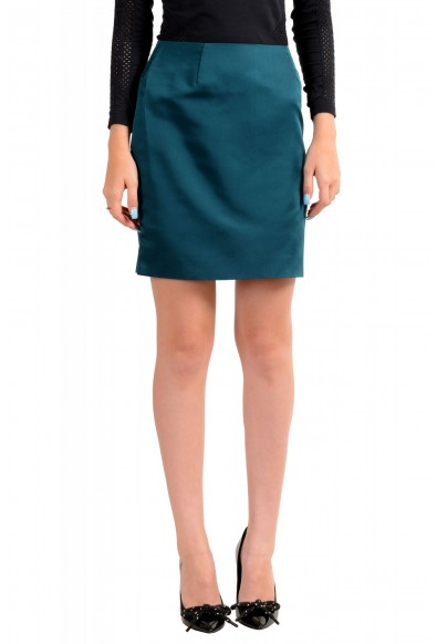 Versace Women's Forest Green 100% Silk Mini A-Line Skirt