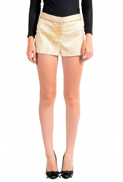 Versace Women's Distressed Look Beige 100% Silk Mini Shorts