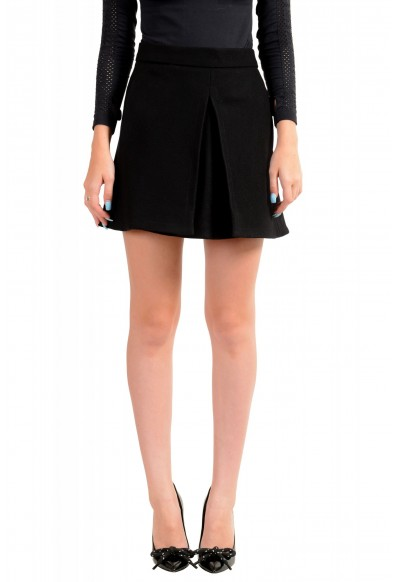 Dsquared2 Women's Black Wool Pleated Mini A-Line Skirt