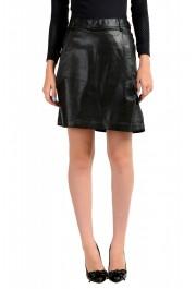 Just Cavalli Women's Black Coated A-Line Mini Skirt