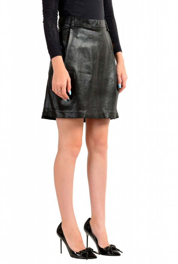 Just Cavalli Women's Black Coated A-Line Mini Skirt : Picture 2