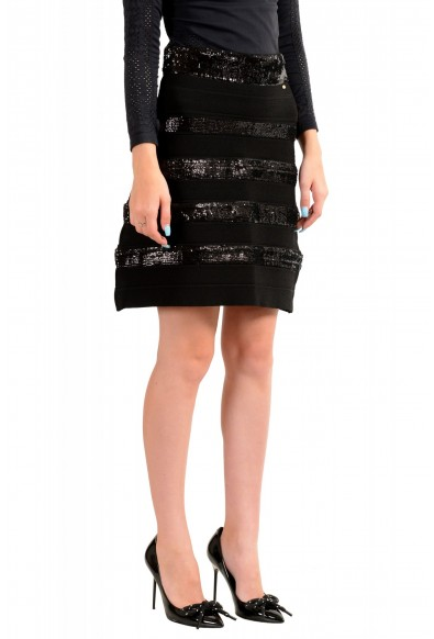 Just Cavalli Women's Black Sequins Embellished A-Line Skirt: Picture 2
