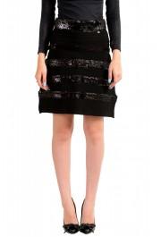 Just Cavalli Women's Black Sequins Embellished A-Line Skirt