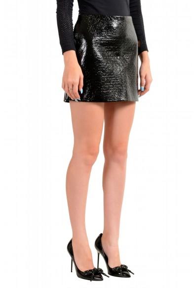 Viktor & Rolf Women's Black Textured Coated Mini A-Line Skirt: Picture 2