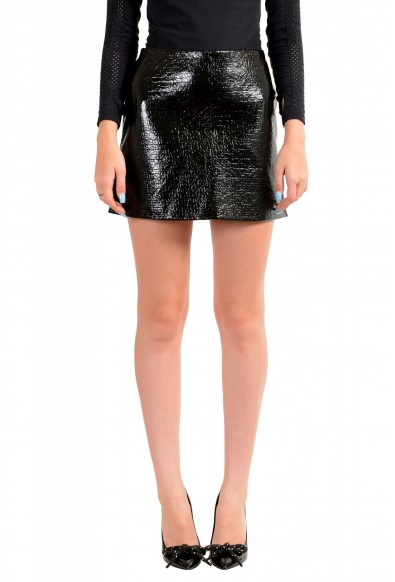 Viktor & Rolf Women's Black Textured Coated Mini A-Line Skirt