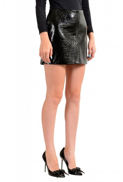Viktor & Rolf Women's Black Textured Coated Mini A-Line Skirt : Picture 2
