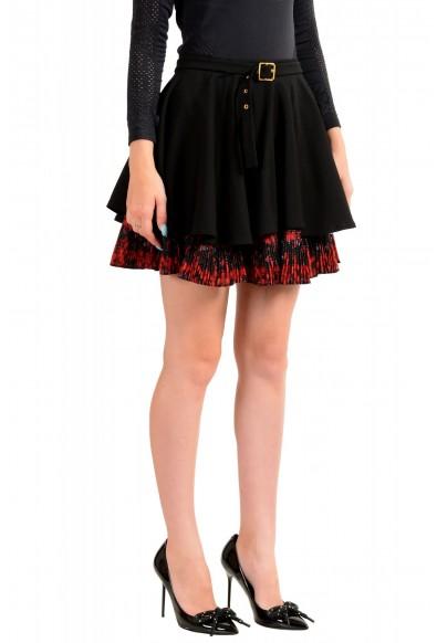 Just Cavalli Women's Black Wool Pleated A-Line Mini Skirt: Picture 2