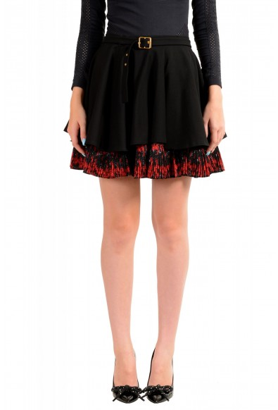 Just Cavalli Women's Black Wool Pleated A-Line Mini Skirt