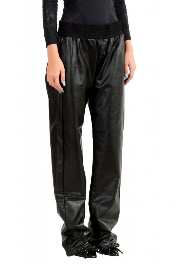 Just Cavalli Women's Black Elastic Waist Faux Leather Casual Pants: Picture 2