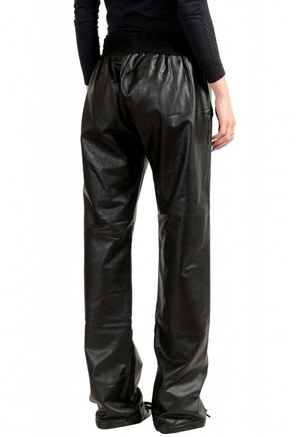 Just Cavalli Women's Black Elastic Waist Faux Leather Casual Pants: Picture 3