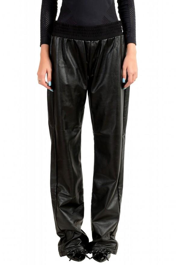 Just Cavalli Women's Black Elastic Waist Faux Leather Casual Pants