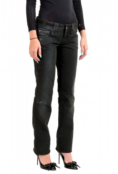 John Galliano Women's Off Black Floral Print Straight Leg Jeans : Picture 2