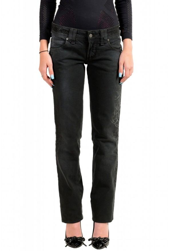 John Galliano Women's Off Black Floral Print Straight Leg Jeans
