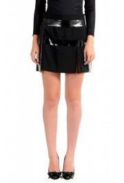 Just Cavalli Women's Black & White Pleated Mini A-Line Skirt