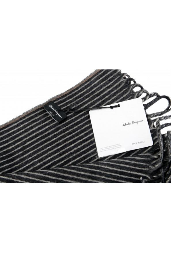 Salvatore Ferragamo Multi-Color 100% Cashmere Striped Logo Print Shawl Scarf: Picture 5
