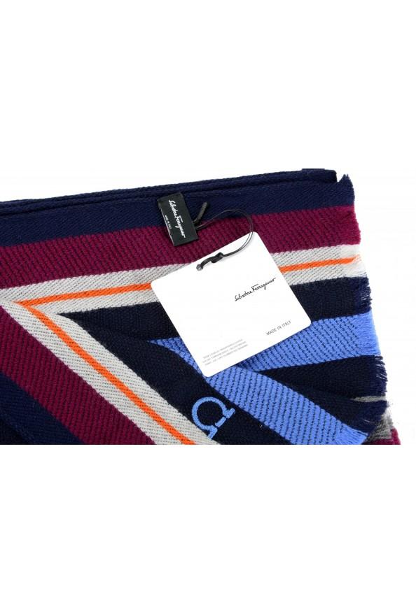 Salvatore Ferragamo Multi-Color 100% Wool Striped Logo Print Shawl Scarf: Picture 5